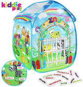 Kiddie Play Zoo Pop Up Play Tent for Kids with Animal Name Cards
