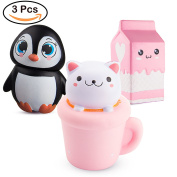 BeYumi 3 PCS Jumbo Squishy Toy, Kawaii Penguin + Cat Toy + Milk Cup Decompression Squeeze Toys for Collection Gift, decorative props Large or Stress Relief, 3 Pack