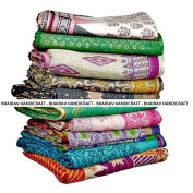 BHAIRAV HANDICRAFT Present 10 Pieces Mix Lot of Indian Tribal Kantha Quilts Vintage Cotton Bed Cover Throw Old Assorted Patches Made Rally By BHAIRAV HANDICRAFT
