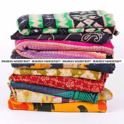 BHAIRAV HANDICRAFT Present 5 Pieces Mix Lot of Indian Tribal Kantha Quilts Vintage Cotton Bed Cover Throw Old Assorted Patches Made Rally By BHAIRAV HANDICRAFT