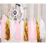 IDS Tissue Paper Tassels, Tissue Paper Tassel DIY Party Garland Banner for Wedding, birthday Party, Baby Shower, Pink+Gold+White