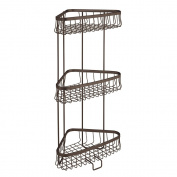 InterDesign York Lyra Free Standing Bathroom or Shower Corner Storage Shelves for Towels, Soap, Shampoo, Lotion, Accessories - 3 Tier, Bronze