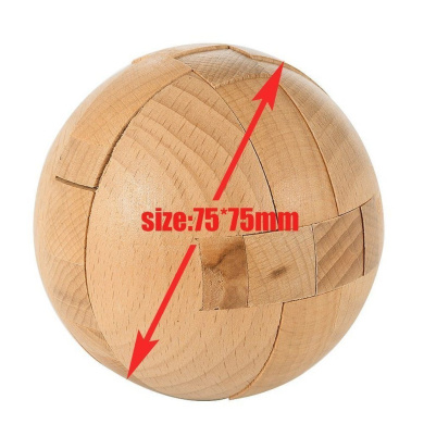 Twister.CK Wooden Ball Kong Ming Lock Puzzle Brain Teaser, Disentanglement Puzzles Magic Balls, Diameter: about 75mm, Educational Wooden Toys Brain Teaser Puzzles, Training Creative Thinking IQ Magic