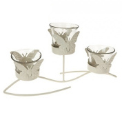 Butterfly Design Triple Tealight Candle Holder (One Size)
