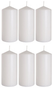 Church Large Pillar Candles in White 7 cm/15 cm, set of 6, 66 hours burning time, highest quality