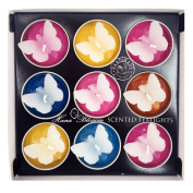 9 Assorted Big Butterfly Scented Tealights in a Gift Box Set