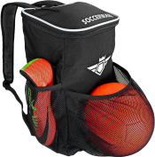 Soccer Backpack with Ball Holder Compartment - For Kids Youth Boys & Girls   Bag Fits All Soccer Equipment & Gym Gear