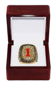 ARKANSAS RAZORBACKS (John Engskov) 1994 NCAA NATIONAL SEC CHAMPIONS (First Title) Vintage Rare & Collectible High-Quality Replica NCAA Basketball Gold Championship Ring with Cherrywood Display Box