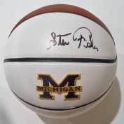 Steve Fisher Signed Michigan Wolverines Logo Basketball w/COA 2016 - Autographed College Basketballs
