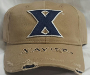 New NCAA Xavier Musketeers Khaki Pre-ripped Buckle Hat