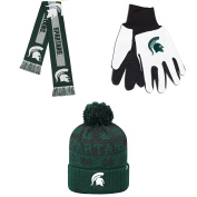 NCAA Michigan State Spartans Grip Work Glove Subartic Beanie Hat And Big Logo Scarf 3 Pack Bundle