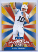 """MITCH TRUBISKY 5120cm 1ST EVER PRINTED"""" LEAF draught ALL-AMERICAN GOLD PARALLEL ROOKIE CARD INSERT! W/H TOP LOADER!"""