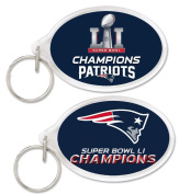 NFL NEW ENGLAND PATRIOTS SUPER BOWL CHAMPIONS ACRYLIC KEY RING CARDED OVAL