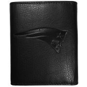 NFL New England Patriots Embossed Black Tri-fold Leather Wallet