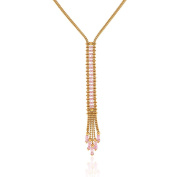 Gioiello Italiano - Yellow gold plated silver necklace with pink beads