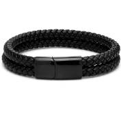 Genuine Leather Bracelet Men Stainless Steel Leather Braid Bracelet With Magnetic Buckle Clasp