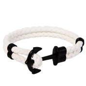 Gold Classic Anchor Braided leather bracelet Black for Men Colour Optional
