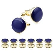 HAWSON Elegant Blue Enamel Man Shirt Studs and Cufflinks Set for Wedding Business Jewellery Gold
