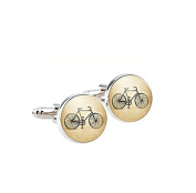 Vintage bicycle Cufflinks Silver plated Antique bike Cuff links men and women