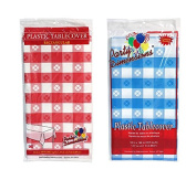Party Dimensions 140cm x 270cm Rectangular Tablecovers / Tablecloths - Bundle of 6 - Red Gingham & Blue Gingham