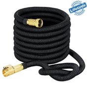 Expandable Garden Hose with Brass Fittings-Includes Nozzle 15m Retractable, Flexible, Never Kink, Lightweight Portable Water Hoses. Best for Gardening, RV Accessories Pressure Wash