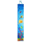 OKAYPAINTING- Blue Sea Growth Chart Hanging height measurement chart for baby, boys, and girls | Perfect Nursery or Baby Room Addition