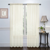 HLC.ME Ivory 140cm inch x 160cm inch Window Sheer Voile Panels Curtains for Living Room, Set of 2