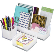 Sorbus Acrylic Desk Organisers Set – 3-Piece, Includes Desk Organiser Caddy, Memo Tray and Pen Cup, Modern Desk Accessories Organiser Great for Home or Office, White Clear