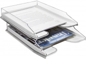 Sorbus Letter Tray, Modern Acrylic Paper Organiser Tray, Clear Desk File Holder - 2 Level, Desktop File, Stackable Magazine Holder, Mail Sorter, Great for Home or Office, White Clear