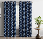 HLC.ME Lattice Print Thermal Insulated Room Darkening Blackout Curtains for Bedroom - Navy Blue - 130cm W x 160cm L - Set of 2