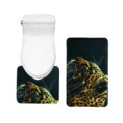 Bearbae Bath Mat Toilet Rug Set 2 Piece Non Slip Bathroom Washable Black Leopard Print