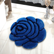 3D Carpet Round Roses Mats Living Room Bedroom Basket Computer Chair Carpet(70cm*70cm)