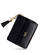 GSQ Women Girls Leather Clutches Knitted Weaving Handbag with Heart Pendant