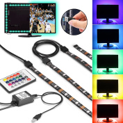 Gr4tec LED TV Backlight, Colour Changing Flexible Light Strip USB Connexion with Remote Control Dimmable Rope Light 4 x 50cm 5V RGB Waterproof IP65 Tape Light TV PC Back Mood Lighting Background