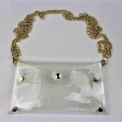 Clear See Through Clutch Handbag w Gold Chain Strap, NFL Stadium Approved Clear Purse