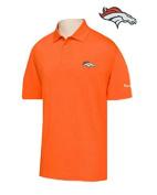 Denver Broncos Adult X-Large XL Performance Short Sleeve Polo Shirt -Orange