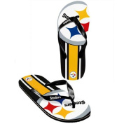 Pittsburgh Steelers Youth Big Logo Flip Flops - Black/yellow Youth Small 11-12