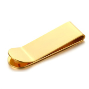 Stainless Steel Money Clip for Men Boy Cash Holder High Polished IP Gold Plating 52MMx16MM Onefeart