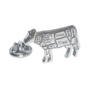 Butchers Cuts of Beef Cow Lapel Pin Badge