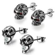 Aroncent Men Stud Earring Stainless Steel Ear Stud Vintage Punk Gothic Skull Black 4PCS 2 Pairs
