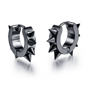 Ilove EU Spikes Stainless Steel Huggie Hoop Stud Earrings Black Rivets Awl Taper Punk Rock Men