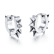 Ilove EU Stainless Steel Huggie Hoop Earrings with Spikes Earrings Silver Rivets Awl Taper Punk Rock Men