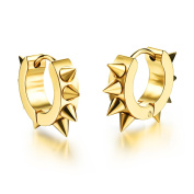 Ilove EU Gold Spikes Rivets Awl Taper Punk Rock Men's Stainless Steel Huggie Hoop Earrings