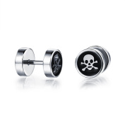 Ilove EU Stainless Steel Earrings Fake Plug Tunnel Ear Stud Earrings Black Silver Skull Gothic Men