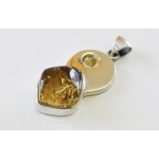 Cognac amber two stones silver pendant