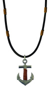 Bico Raw Anchor Pendant & Black Leather Necklace (RA1P3C) - stable and strong foundations