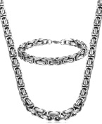 Jstyle Jewellery Stainless Steel Male Chain Necklace Mens Bracelet Set