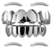 24K White Gold Plated Grillz + 2 EXTRA Moulding Bars