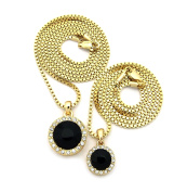 Round Faux Onyx Stone Pendant Set w/ 2mm 61cm & 76cm Box Chain Necklace in Gold-Tone