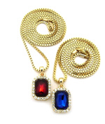 Pave Blue & Faux Ruby Stone Pendant Set 2mm 61cm & 76cm Box Chain Necklace in Gold-Tone